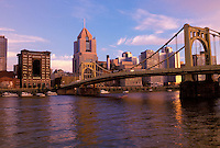 Pittsburgh, Pennsylvania, PA, downtown skyline of Pittsburgh, Allegheny River, 6th Street Bridge.