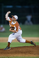 Asheboro Copperheads starting pitcher Austin Staley (22) delivers a pitch to the plate against the High Point-Thomasville HiToms at Finch Field on June 12, 2015 in Thomasville, North Carolina.  The HiToms defeated the Copperheads 12-3. (Brian Westerholt/Four Seam Images)