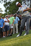 May 8,2011 - Glover and spectators watch his second shot on 18 from a steep downhill lie.  Lucas Glover wins the tournament in sudden death over Jonathan Byrd at Quail Hollow Country Club,Charlotte,NC.