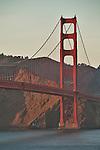 Golden Gate Bridge in San Francisco, California at sunset