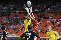DC United goalkeeper Bill Hamid (28) goes up to save the play.  The Columbus Crew defeated DC United 1-0 at RFK Stadium, Saturday September 4, 2010.