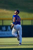 AZL Cubs 1 left fielder Jacob Olson (16) warms up between innings of an Arizona League game against the AZL Angels on June 24, 2019 at Sloan Park in Mesa, Arizona. AZL Cubs 1 defeated the AZL Angels 12-0. (Zachary Lucy / Four Seam Images)