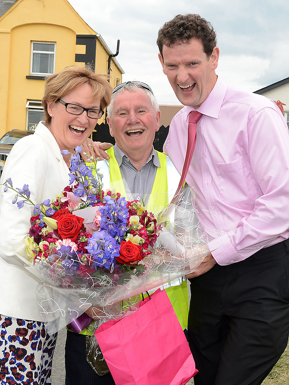 Mairead McGuinness MEP, Michael McMahon and Colin Markey director of Louth Leader Partnership at the Viking festival in Annagassan. Photo:Colin Bell/pressphotos.ie