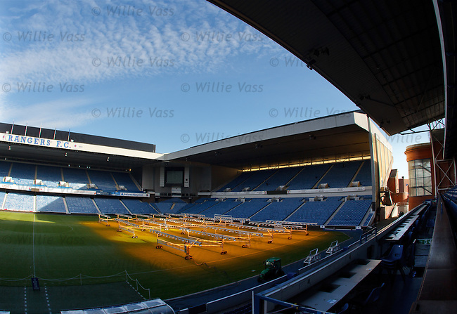 Solar lamps making the grass lush at Ibrox Stadium