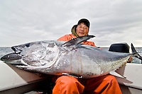 For a man in his late 50s landing a big Bluefin Tuna, a fish over the 100lb mark, is always a challenging task. The grin on his face tells how rewarding has been such accomplishment