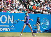 June 18th 2017, Nottingham, England; WTA Aegon Nottingham Open Tennis Tournament day 7 finals day;  Forehand from Donna Vekic of Croatia who levels the score at one set all in the final against Johanna Konta of Great Britain