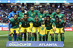 22 July 2015: Jamaica's starters. Front row (from left): Joel McAnuff (JAM), Giles Barnes (JAM), Rudolph Austin (JAM), Garath McClearly (JAM), Darren Mattocks (JAM). Back row (from left): Ryan Thompson (JAM), Wes Morgan (JAM), Michael Hector (JAM), Je-Vaughn Watson (JAM), Kemar Lawrence (JAM), Adrian Mariappa (JAM). The United States Men's National Team played the Jamaica Men's National Team at the Georgia Dome in Atlanta, Georgia in a 2015 CONCACAF Gold Cup semifinal match.