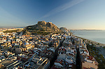 Alicante city and Santa Barbara castle, Alicante, spain