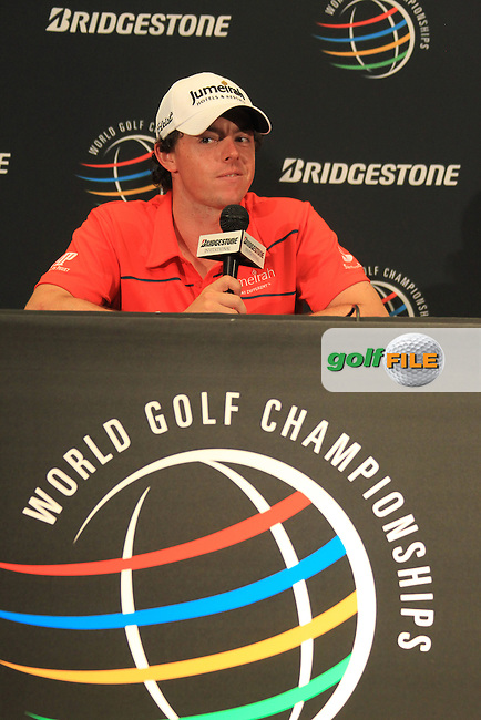 Rory McIlroy (NIR) in the interview room during Tuesday's practice day of the 2012  Bridgestone Invitational World Golf Championship at The Firestone Country Club, Akron, Ohio, USA 31st July 2012 (Photo Eoin Clarke/www.golffile.ie)