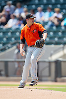 Frederick Keys starting pitcher Brady Wager (16) in action against the Winston-Salem Dash at BB&T Ballpark on July 30, 2014 in Winston-Salem, North Carolina.  The Dash defeated the Keys 12-2.   (Brian Westerholt/Four Seam Images)