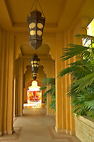 Dubai, United Arab Emirates.  Cool arcade in local style at hotel in Madinat Jumeirah..
