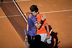 Dominic Thiem and Novak Djokovic during the Mutua Madrid Open Masters match on day eight at Caja Magica in Madrid, Spain.May 11, 2019. (ALTERPHOTOS/A. Perez Meca)