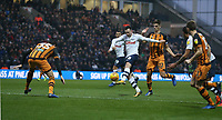 Preston North End's Alan Browne shoots under pressure from Hull City's Markus Henriksen<br /> <br /> Photographer Stephen White/CameraSport<br /> <br /> The EFL Sky Bet Championship - Preston North End v Hull City - Wednesday 26th December 2018 - Deepdale Stadium - Preston<br /> <br /> World Copyright &copy; 2018 CameraSport. All rights reserved. 43 Linden Ave. Countesthorpe. Leicester. England. LE8 5PG - Tel: +44 (0) 116 277 4147 - admin@camerasport.com - www.camerasport.com