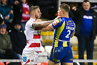 Picture by Alex Whitehead/SWpix.com - 16/03/2017 - Rugby League - Betfred Super League - Leigh Centurions v Warrington Wolves - Leigh Sports Village, Leigh, England - Warrington's Tom Lineham and Leigh's Ben Crooks clash.