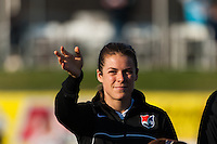 Sky Blue FC forward Kelley O'Hara (19) is introduced prior to playing the Western New York Flash. Sky Blue FC defeated the Western New York Flash 1-0 during a National Women's Soccer League (NWSL) match at Yurcak Field in Piscataway, NJ, on April 14, 2013.