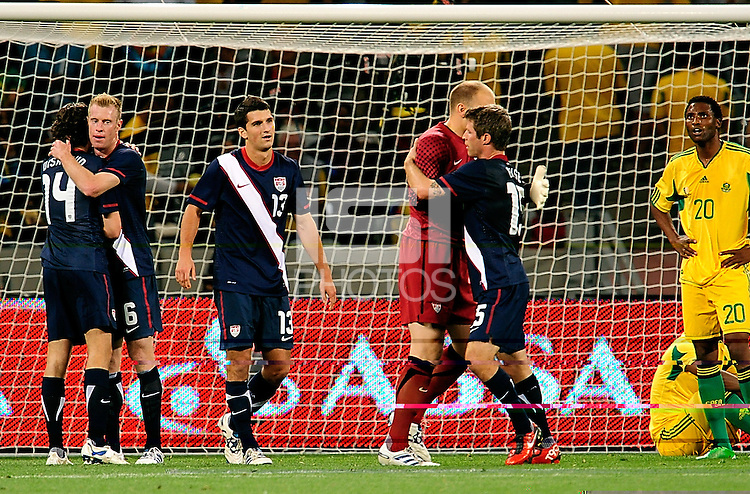 USA celebrate after the  Soccer match between South Africa and USA played at the Greenpoint in Cape Town South Africa on 17 November 2010.