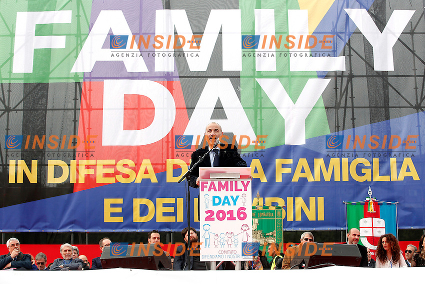 Massimo Gandolfini durante il suo intervento sul palco<br /> Roma 30-01-2016 Manifestazione Family Day 2016.<br /> Photo Samantha Zucchi Insidefoto