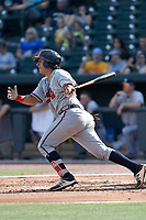 Catcher Lucas Herbert (7) of the Rome Braves bats in a game against the Columbia Fireflies on Sunday, July 2, 2017, at Spirit Communications Park in Columbia, South Carolina. Columbia won, 3-2. (Tom Priddy/Four Seam Images)