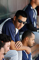 Pensacola Blue Wahoos pitcher Robert Stephenson (17) in the dugout during a game against the Jacksonville Suns at Bragan Field on the Baseball Grounds of Jacksonville on May 11, 2015 in Jacksonville, Florida. Jacksonville defeated Pensacola 5-4. (Robert Gurganus/Four Seam Images)
