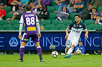 25th March 2018, nib Stadium, Perth, Australia; A League football, Perth Glory versus Melbourne Victory; Christian Theoharous of Melbourne Victory passes the ball as Neil Kilkenny of the Perth Glory covers