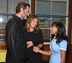 Peter Hermann, Mariska Hargitay and Nicolette Robinson backstage after Nicolette Robinson makes her Broadway debut in 'Waitress' on September 4, 2081 at the Brooks Atkinson Theatre in New York City.