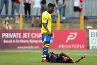St Albans player stands over Kurtis Guthrie of Stevenage during St Albans City vs Stevenage, Friendly Match Football at Clarence Park on 13th July 2019