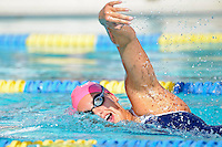 5 November 2011:  FIU's Nadia Farrugia competes in the 500 yard freestyle as the FIU Golden Panthers won the meet with the Florida Atlantic University Owls and Florida Southern Moccasins at the Biscayne Bay Campus Aquatics Center in Miami, Florida.