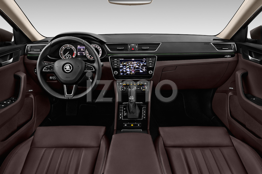 Stock photo of straight dashboard view of 2016 Skoda Superb Combi Laurin & Klement 5 Door Wagon Dashboard