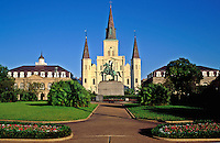 USA, Louisiana, New Orleans. St. Louis Cathedral, Jackson Square and Cabildo