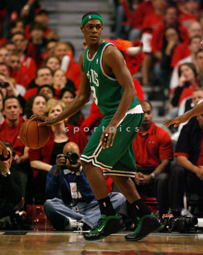 RAJON RONDO, of the Boston Celtics, during the Celtics game against the Chicago Bulls at the United Center in Chicago, IL on April 26, 2009. The Bulls win the game 121-118.