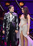 "Aaron Tveit and Karen Olivo during the Broadway Opening Night performance Curtain Call bows for ""Moulin Rouge! The Musical"" at the Al Hirschfeld Theatre on July 25, 2019 in New York City."