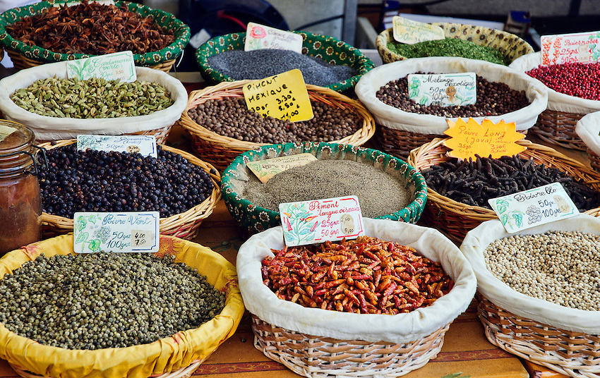 Spices for sale at a market in Aix-en-Provence