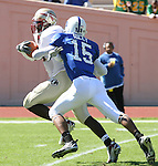 14 October 2006: Florida State's Lawrence Timmons (l), being chased by Duke's Eron Riley (15), runs a fumble 36 yards into the endzone for the game's first touchdown. The Florida State University Seminoles defeated the Duke University Blue Devils 51-24 at Wallace Wade Stadium in Durham, North Carolina in an Atlantic Coast Conference NCAA Division I College Football game.