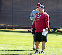 STANFORD, CA - MARCH 7, 2014--Stanford  Defense football coach Lance Anderson, during Open Football Practices at Stanford University.