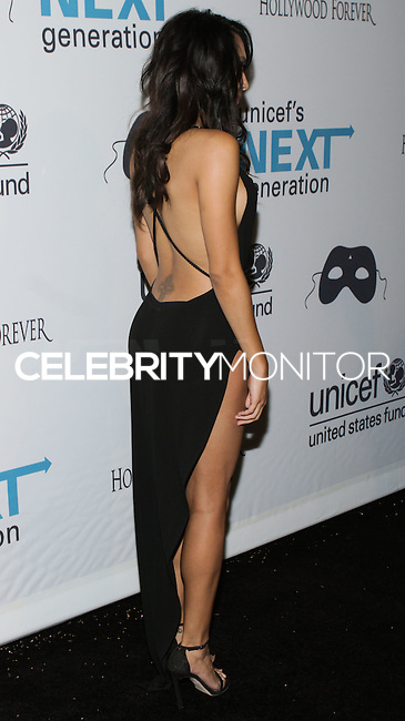 HOLLYWOOD, LOS ANGELES, CA, USA - OCTOBER 30: Naya Rivera arrives at UNICEF's Next Generation's 2nd Annual UNICEF Masquerade Ball held at the Masonic Lodge at the Hollywood Forever Cemetery on October 30, 2014 in Hollywood, Los Angeles, California, United States. (Photo by Rudy Torres/Celebrity Monitor)