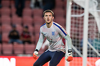 Goalkeeper Freddie Woodman (Newcastle United) of England U21 warms up ahead of the UEFA EURO U-21 First qualifying round International match between England 21 and Latvia U21 at the Goldsands Stadium, Bournemouth, England on 5 September 2017. Photo by Andy Rowland.