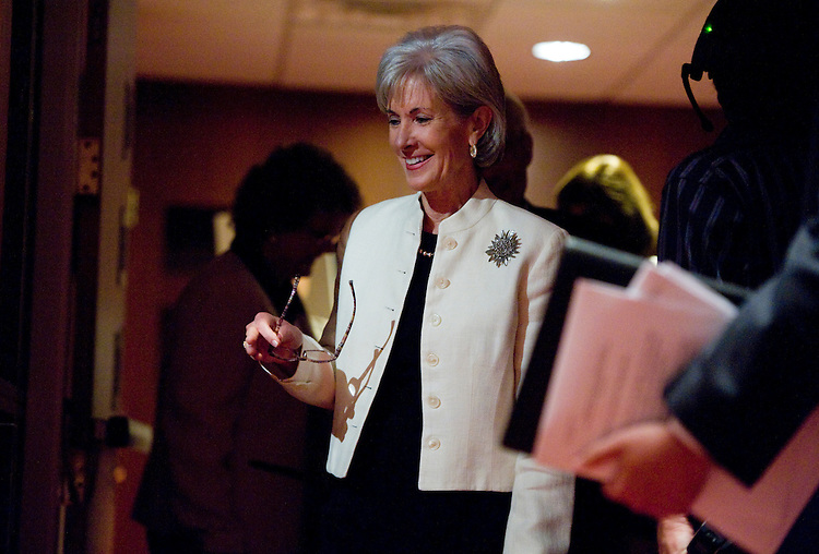 UNITED STATES - JUNE 20:  Health and Human Services Department (HHS) Secretary Kathleen Sebelius arrives for a news conference at HHS headquarters on Medicare and how people are utilizing the preventative services of the Affordable Care Act.  (Photo By Tom Williams/Roll Call)