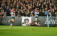 Northampton Saints' Cobus Reinach scores his side's first try<br /> <br /> Photographer Hannah Fountain/CameraSport<br /> <br /> Gallagher Premiership - Leicester Tigers v Northampton Saints - Friday 22nd March 2019 - Welford Road - Leicester<br /> <br /> World Copyright © 2019 CameraSport. All rights reserved. 43 Linden Ave. Countesthorpe. Leicester. England. LE8 5PG - Tel: +44 (0) 116 277 4147 - admin@camerasport.com - www.camerasport.com