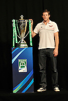 London, England. Scarlets Director of Rugby Simon Easterby poses with the Heinken Cup during the UK Heineken Cup and Amlin Challenge Cup season launch at SKY Studios on October 1, 2012 in London, England.