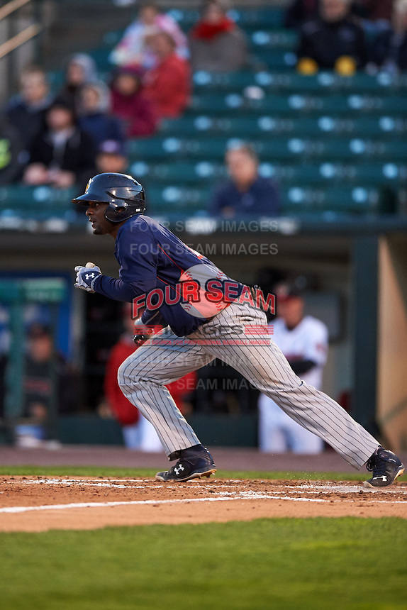 Toledo Mudhens outfielder Xavier Avery (3) during a game against the Rochester Red Wings on May 12, 2015 at Frontier Field in Rochester, New York.  Toledo defeated Rochester 8-0.  (Mike Janes/Four Seam Images)