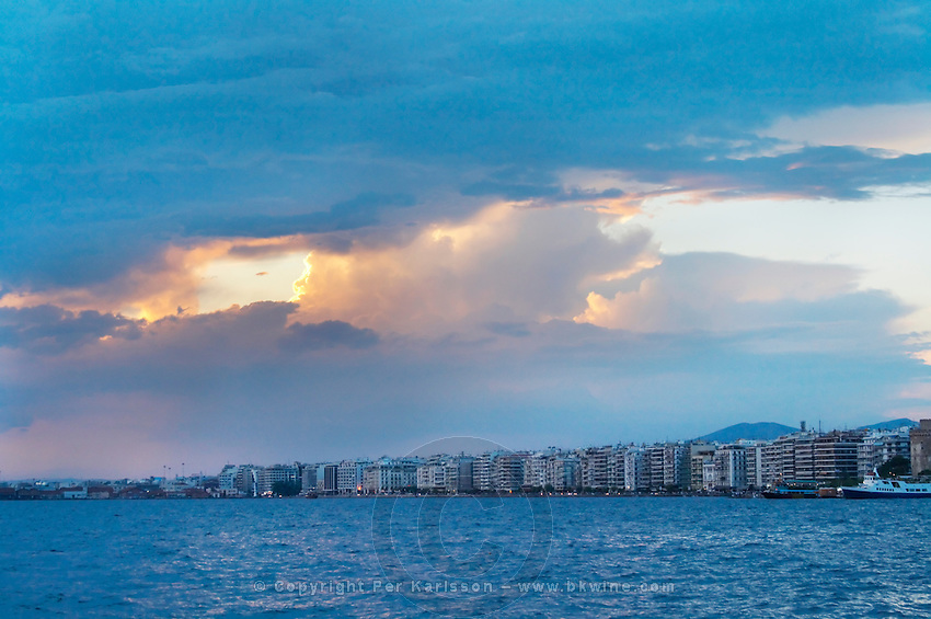 The waterfront. Evening sunset. Thessaloniki, Macedonia, Greece
