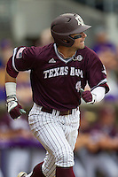 Texas A&M Aggies outfielder Nick Banks (4) runs to first base during the Southeastern Conference baseball game against the LSU Tigers on April 25, 2015 at Alex Box Stadium in Baton Rouge, Louisiana. Texas A&M defeated LSU 6-2. (Andrew Woolley/Four Seam Images)