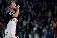 Miralem Pjanic of Juventus celebrates after scoring the goal of 2-1 for his side <br /> Torino 19/10/2019 Allianz Stadium <br /> Football Serie A 2019/2020 <br /> Juventus FC - Bologna <br /> Photo Federico Tardito / Insidefoto
