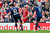 24th March 2018, Anfield, Liverpool, England; LFC Foundation Legends Charity Match 2018, Liverpool Legends versus FC Bayern Legends; Lothar Matthaus and Michael Tarnat of FC Bayern Legends close down Luis Garcia of Liverpool Legends