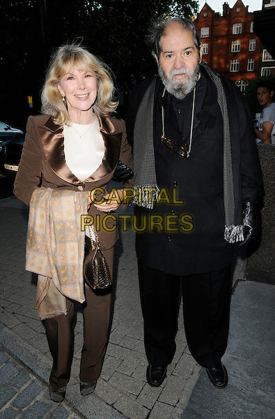 Susan Hampshire & husband .At the Jumeirah Calrton Tower Hotel 50th Anniversary Party, Jumeirah Calrton Tower Hotel, Knightsbridge, London, England, UK, June 13th 2011..full length brown silk satin lapel jacket trousers suit black couple  bag scarf shirt .CAP/CAN.©Can Nguyen/Capital Pictures.