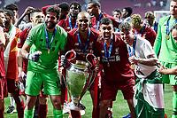 Alison Becker of Liverpool, Fabinho of Liverpool, Roberto Firmino of Liverpool celebrate with the trophy <br /> Madrid 01-06-2019 Estadio Wanda Metropolitano, <br /> Football UEFA Champions League 2018/2019<br /> Final 2019 <br /> Tottenham - Liverpool <br /> Foto Matteo Gribaudi / Image Sport / Insidefoto