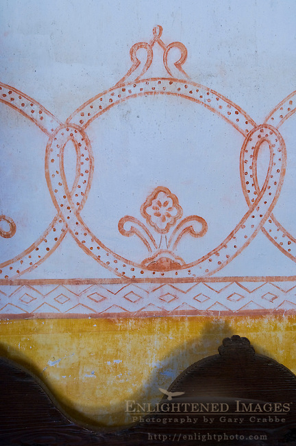Painted decor detail on wall in chapel at La Purisma Mission State Historical Park, near Lompoc, Santa Barbara County, California