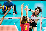 Wing spiker Rika Nomoto of Japan spikes during the FIVB Volleyball World Grand Prix match between China vs Japan on July 21, 2017 in Hong Kong, China. Photo by Marcio Rodrigo Machado / Power Sport Images