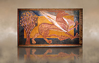 Romanesque frescoes of a Griffen typical of Catalan Court painting from 1200. From the ancient monastery of San Pedro de Arlanza, Buros, Spain. Painted around 1210. National Art Museum of Catalonia, Barcelona. MNAC 40142
