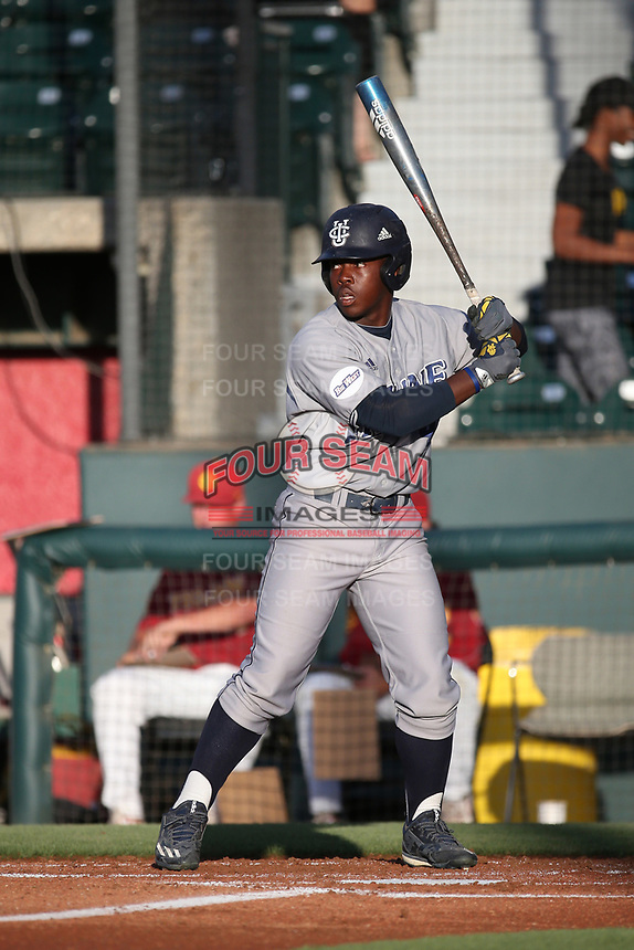 Dailin Lee (2) of the UC Irvine Anteaters bats against the Southern California Trojans at Dedeaux Field on April 18, 2017 in Los Angeles, California. UC Irvine defeated Southern California, 14-3. (Larry Goren/Four Seam Images)